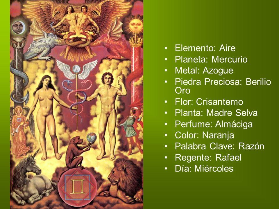 Elemento: Aire Planeta: Mercurio Metal: Azogue Piedra Preciosa: Berilio Oro. Flor: Crisantemo Planta: Madre Selva