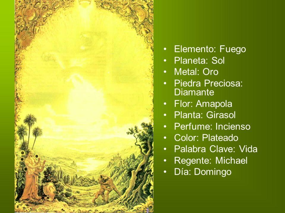 Elemento: Fuego Planeta: Sol. Metal: Oro. Piedra Preciosa: Diamante. Flor: Amapola Planta: Girasol