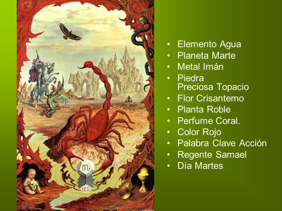 Elemento Agua Planeta Marte Metal Imán Piedra Preciosa Topacio Flor Crisantemo Planta Roble Perfume Coral.