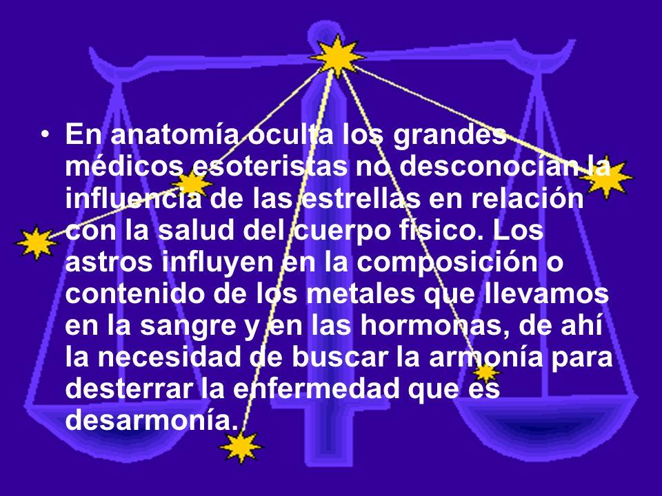 En anatomía oculta los grandes médicos esoteristas no desconocían la influencia de las estrellas en relación con la salud del cuerpo físico.