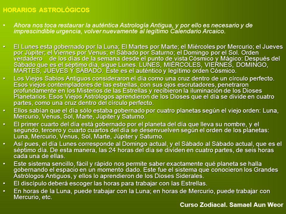 HORARIOS ASTROLÓGICOS