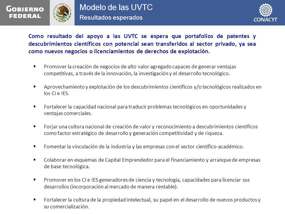 Modelo de las UVTC Resultados esperados