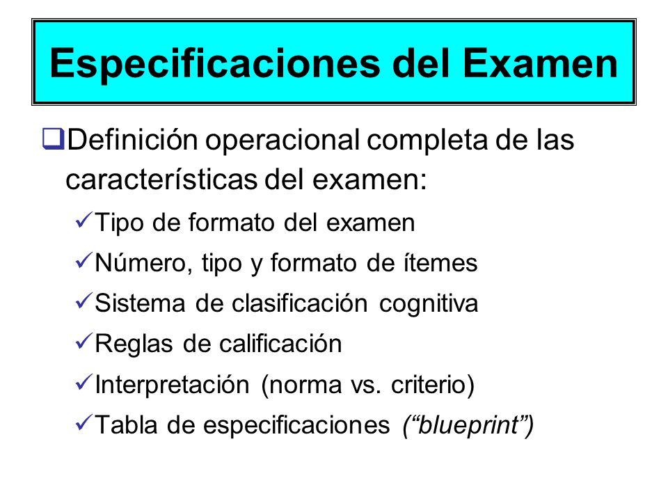 Especificaciones del Examen