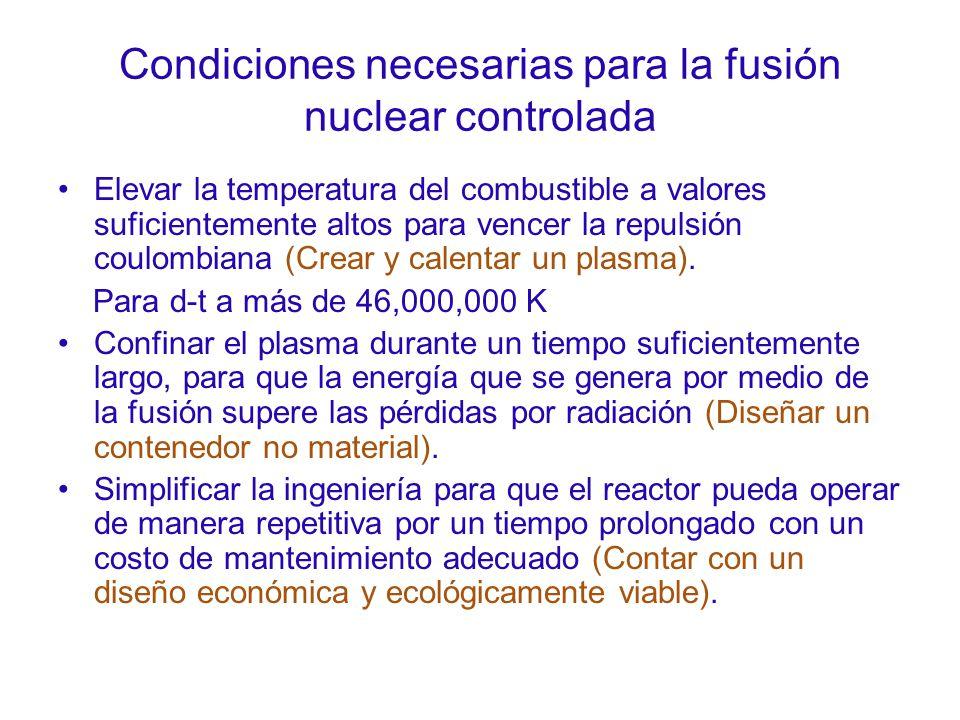 Condiciones necesarias para la fusión nuclear controlada