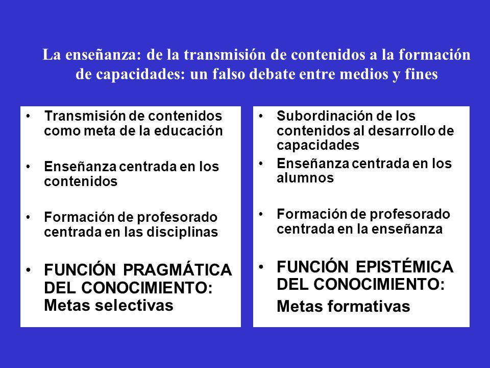 FUNCIÓN PRAGMÁTICA DEL CONOCIMIENTO: Metas selectivas