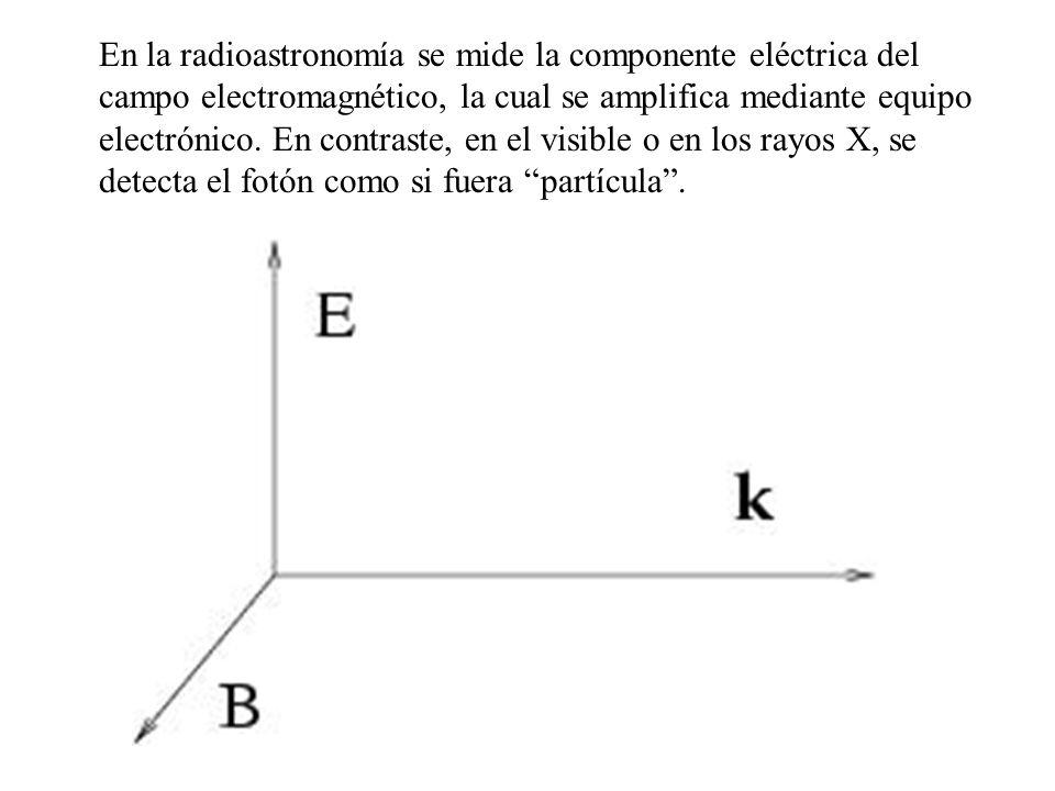 En la radioastronomía se mide la componente eléctrica del campo electromagnético, la cual se amplifica mediante equipo electrónico.