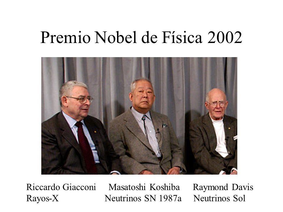 Premio Nobel de Física 2002 Riccardo Giacconi Masatoshi Koshiba Raymond Davis Rayos-X Neutrinos SN 1987a Neutrinos Sol.