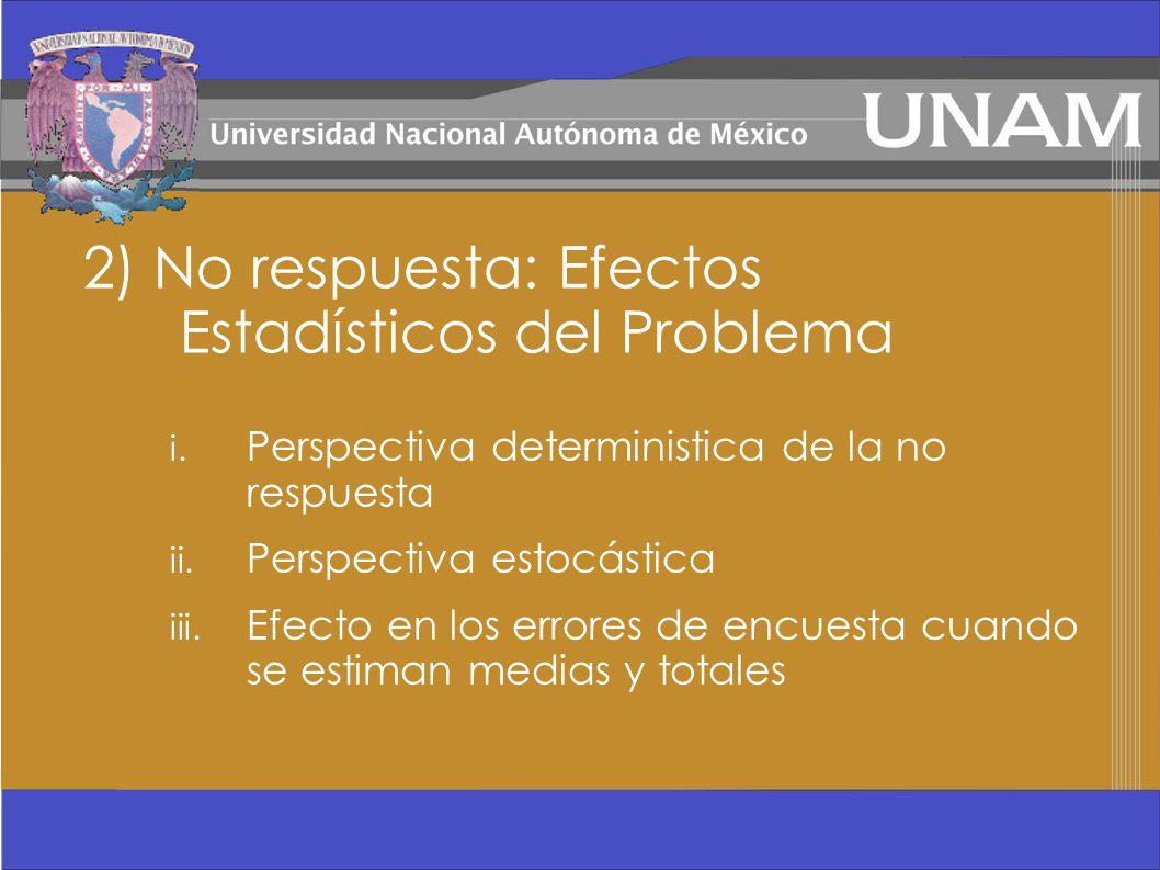 2) No respuesta: Efectos Estadísticos del Problema