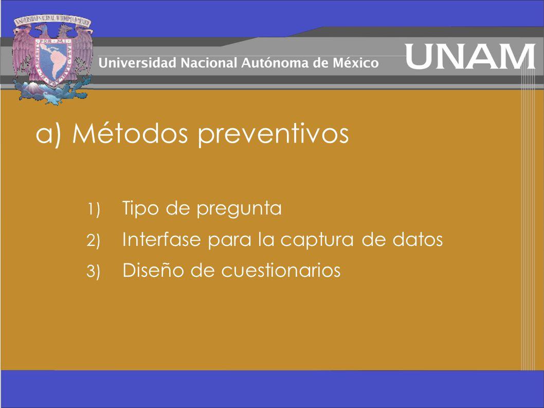 a) Métodos preventivos