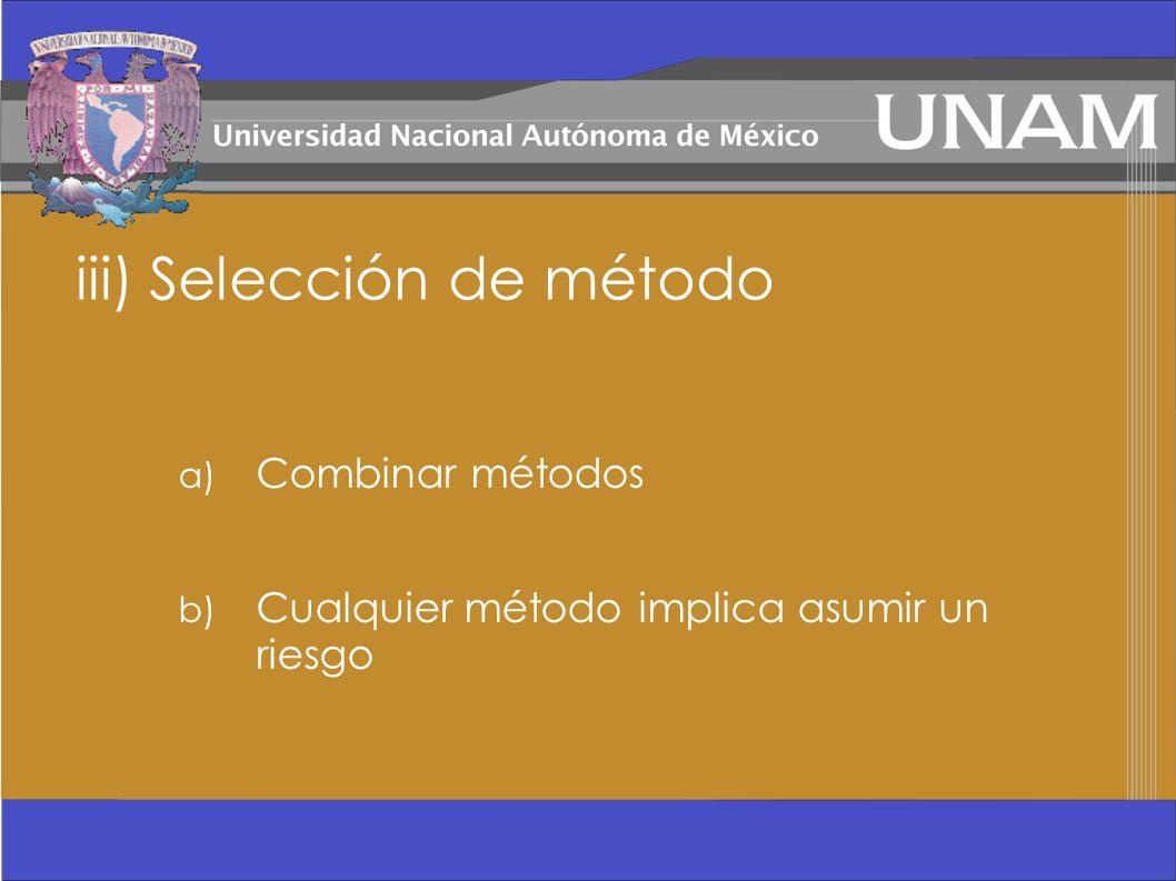 iii) Selección de método