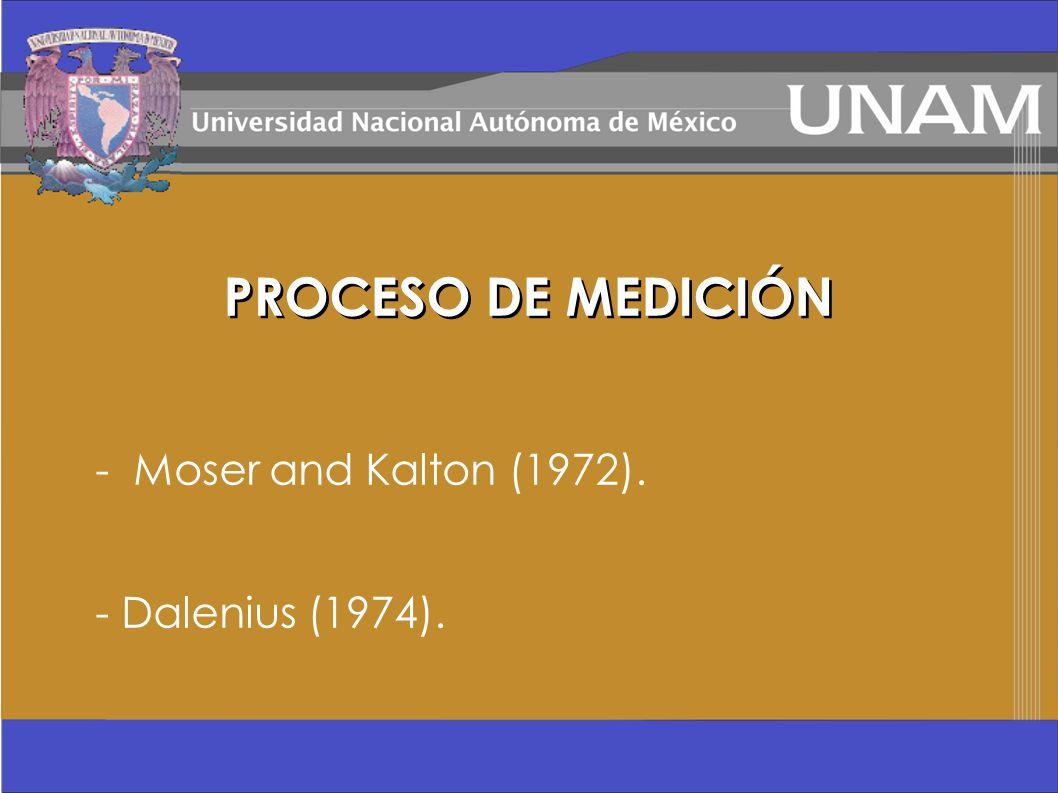 PROCESO DE MEDICIÓN - Moser and Kalton (1972). - Dalenius (1974).