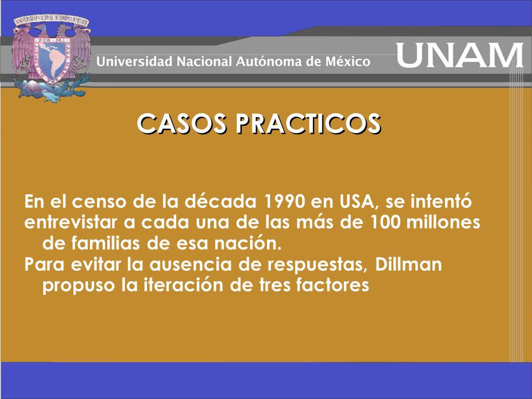 CASOS PRACTICOS En el censo de la década 1990 en USA, se intentó
