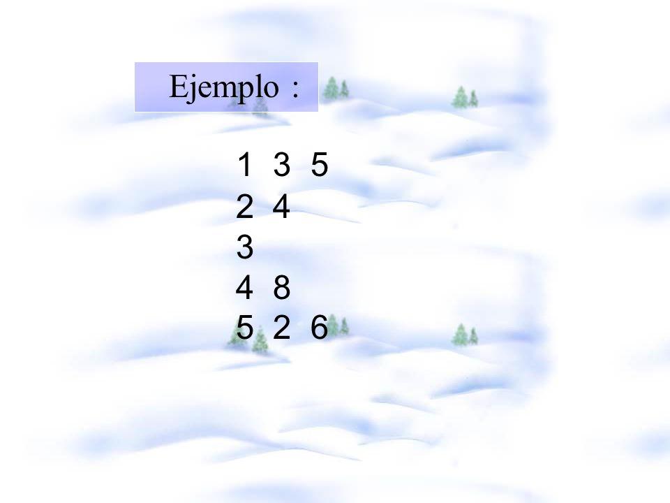Ejemplo : 1 3 5 2 4 3 4 8 5 2 6