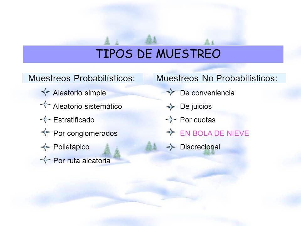 TIPOS DE MUESTREO Muestreos Probabilísticos: Muestreos No Probabilísticos: Aleatorio simple De conveniencia.