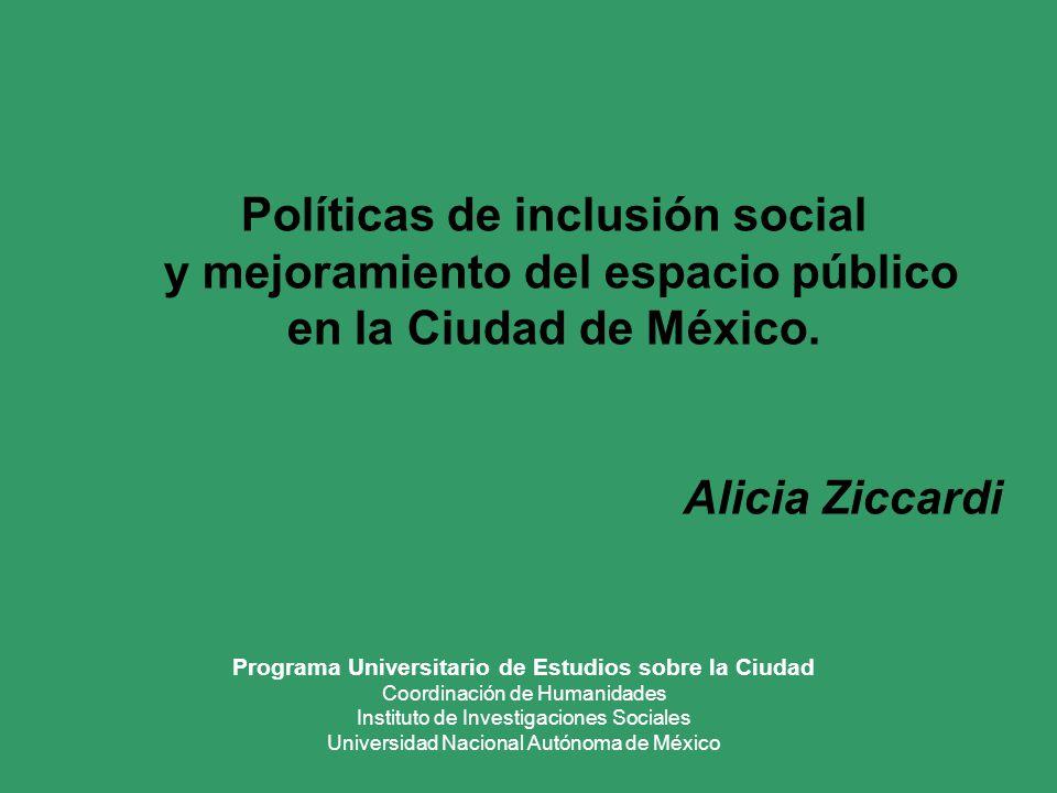 Políticas de inclusión social y mejoramiento del espacio público