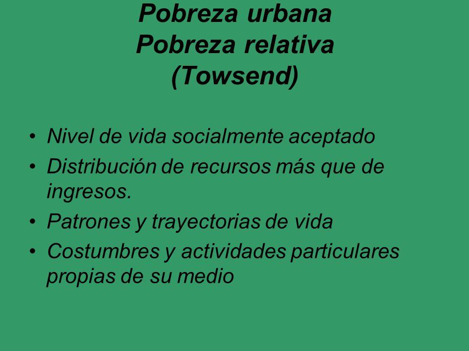 Pobreza urbana Pobreza relativa (Towsend)