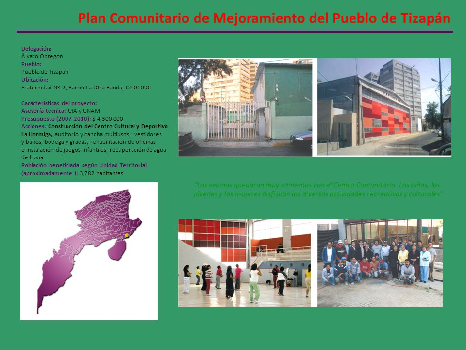 Plan Comunitario de Mejoramiento del Pueblo de Tizapán