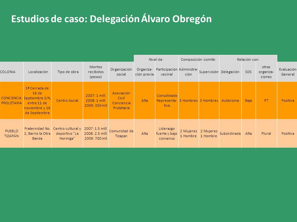 Estudios de caso: Delegación Álvaro Obregón