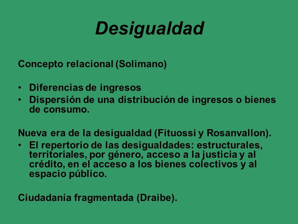 Desigualdad Concepto relacional (Solimano) Diferencias de ingresos