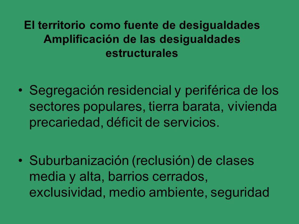 El territorio como fuente de desigualdades Amplificación de las desigualdades estructurales