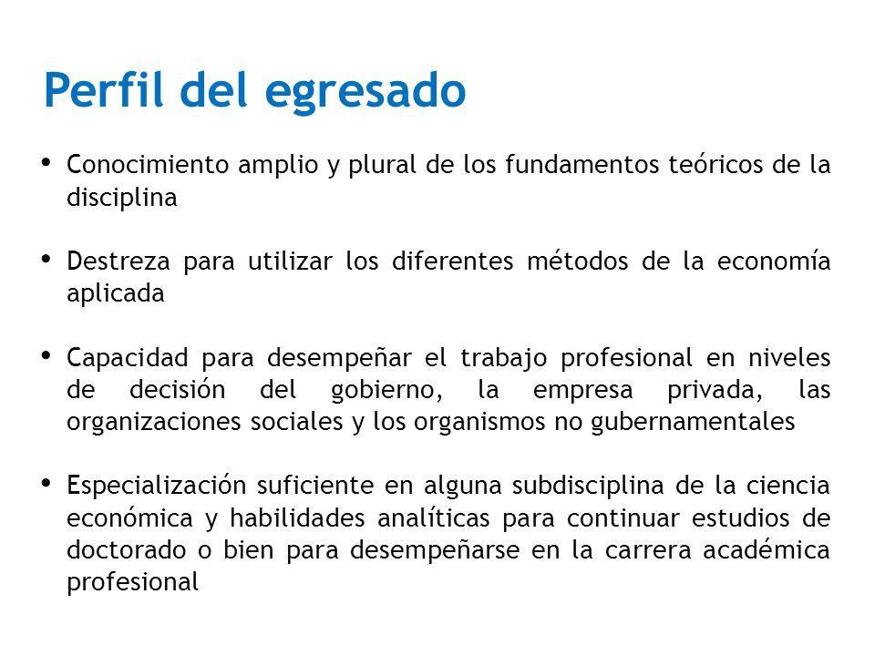 Perfil del egresado Conocimiento amplio y plural de los fundamentos teóricos de la disciplina.