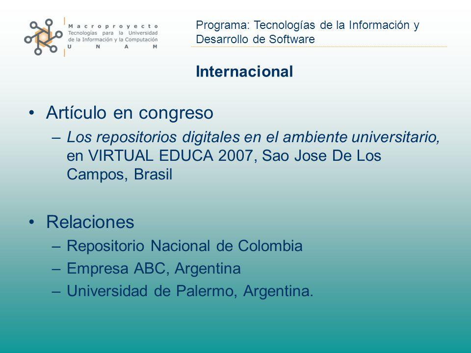 Artículo en congreso Relaciones Internacional