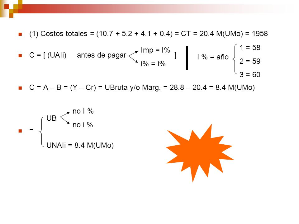 (1) Costos totales = (10. 7 + 5. 2 + 4. 1 + 0. 4) = CT = 20