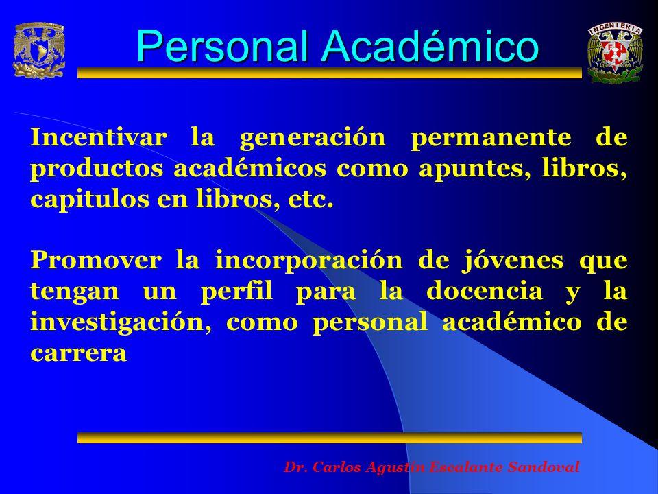 Personal Académico Incentivar la generación permanente de productos académicos como apuntes, libros, capitulos en libros, etc.