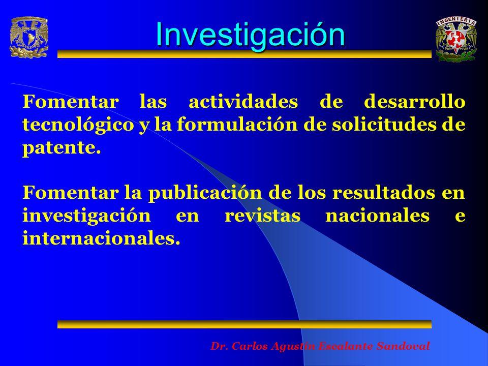 Investigación Fomentar las actividades de desarrollo tecnológico y la formulación de solicitudes de patente.