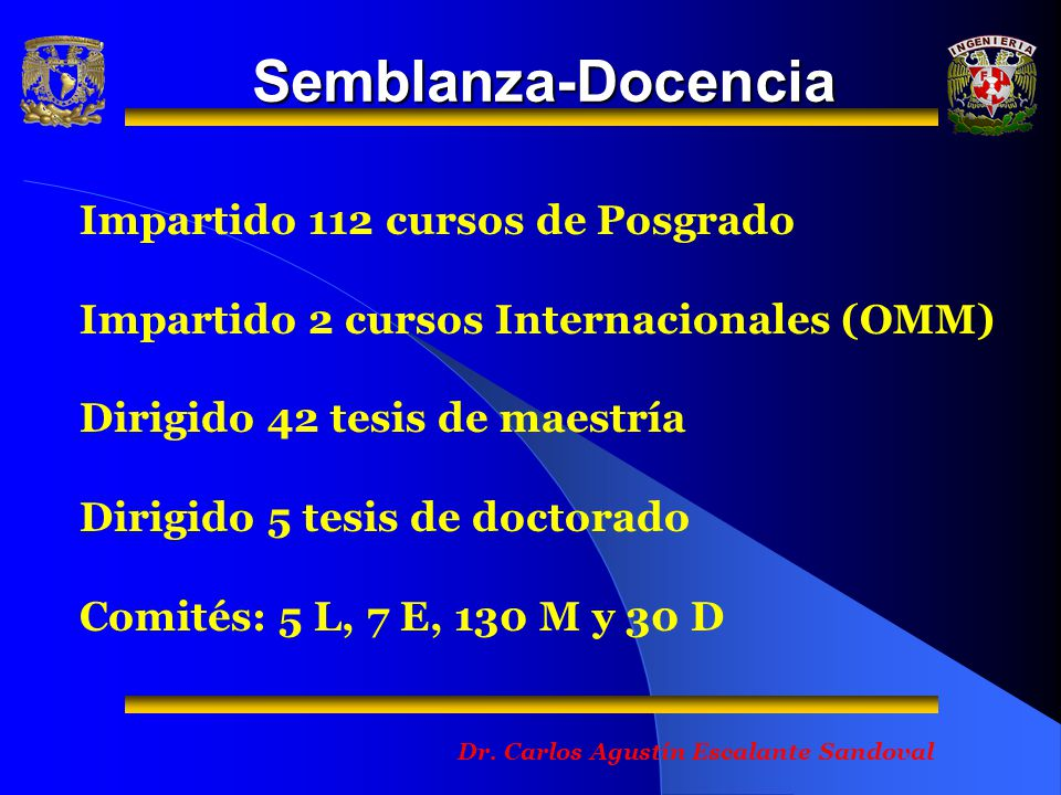 Semblanza-Docencia Impartido 112 cursos de Posgrado