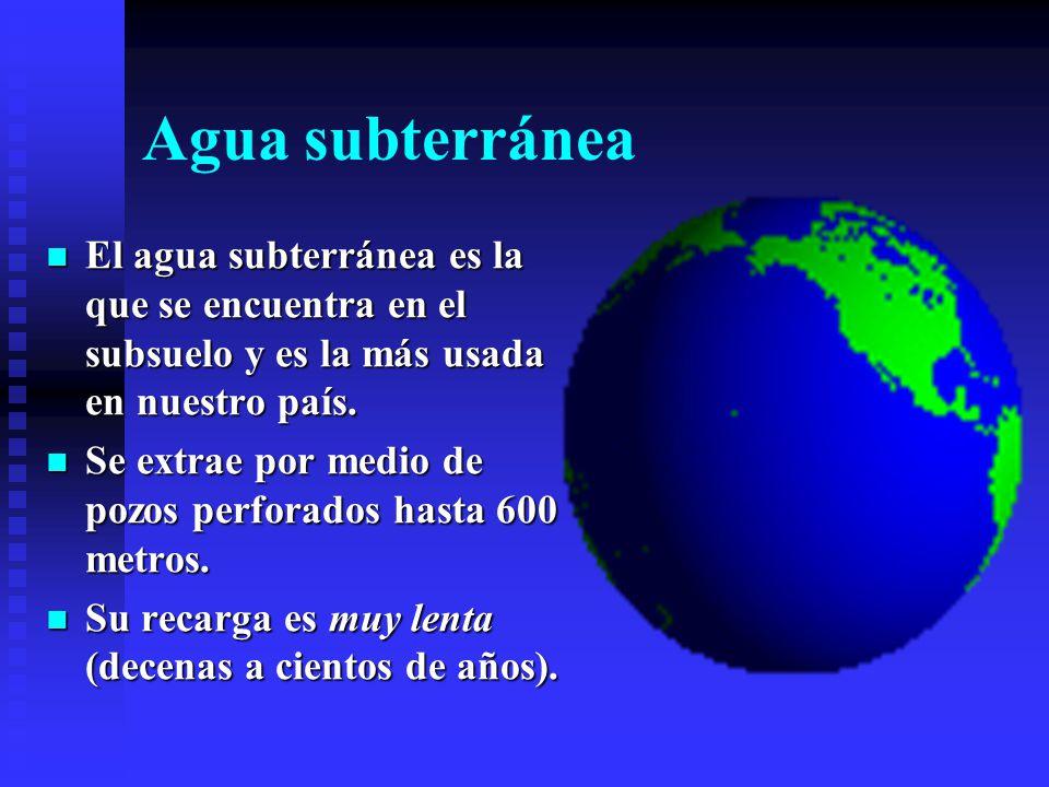 Agua subterránea El agua subterránea es la que se encuentra en el subsuelo y es la más usada en nuestro país.