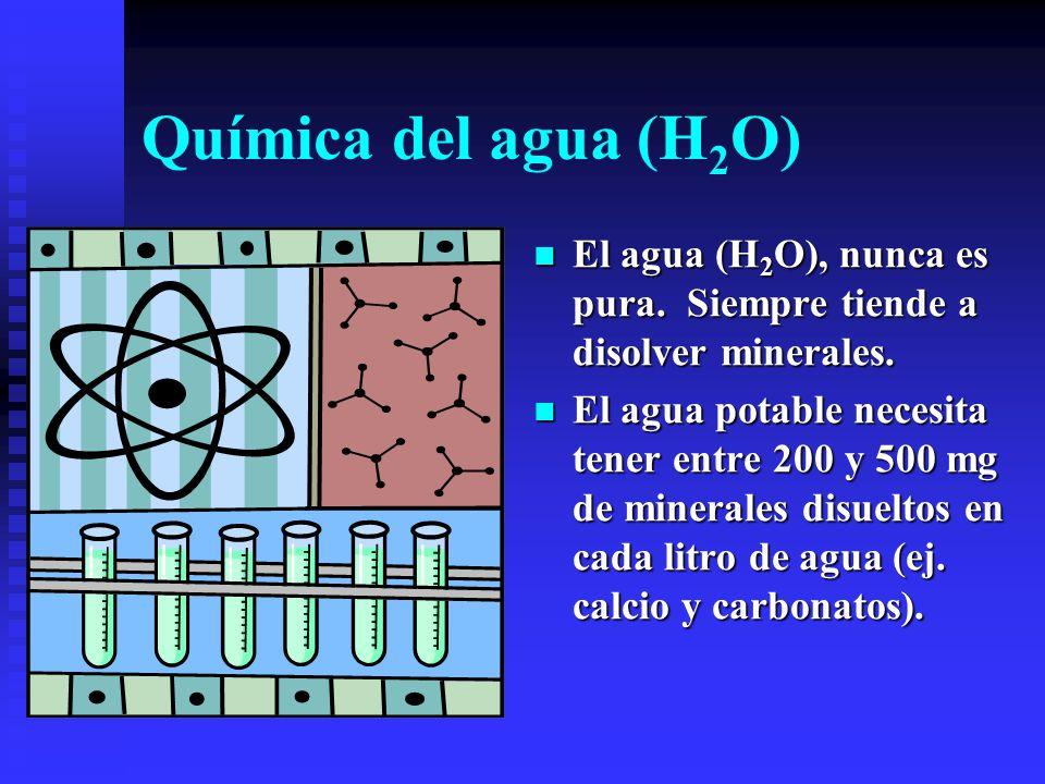 Química del agua (H2O) El agua (H2O), nunca es pura. Siempre tiende a disolver minerales.