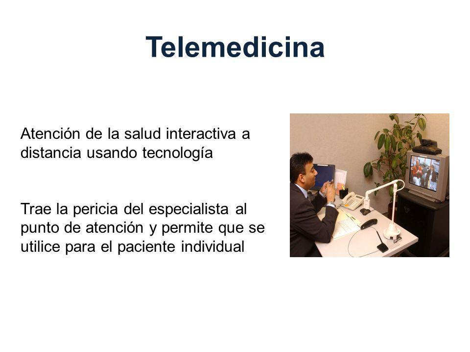 Telemedicina Atención de la salud interactiva a distancia usando tecnología.
