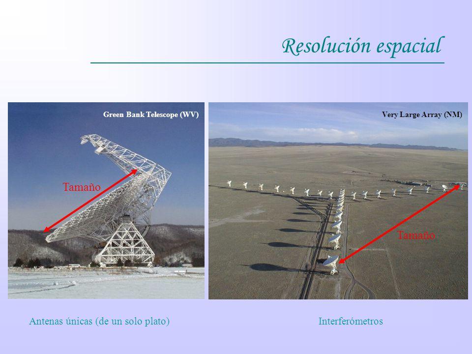 Resolución espacial Tamaño Tamaño Antenas únicas (de un solo plato)
