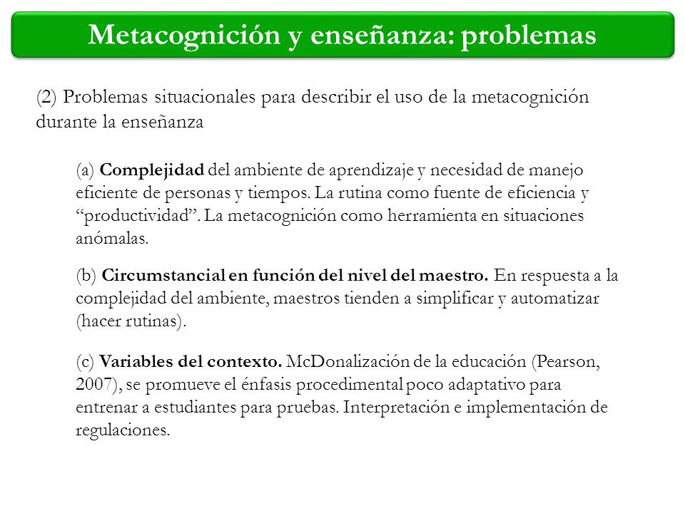 Metacognición y enseñanza: problemas