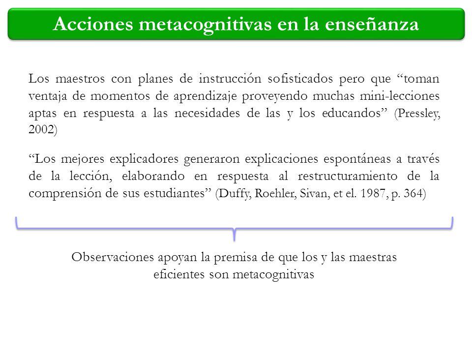 Acciones metacognitivas en la enseñanza