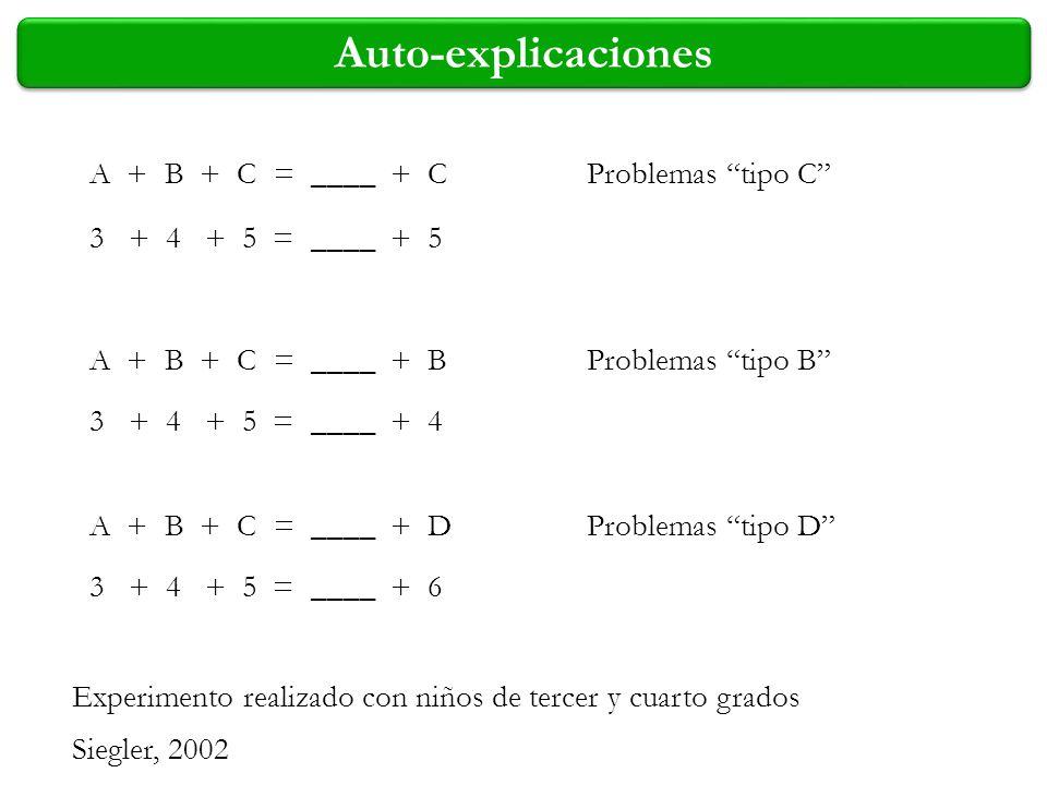 Auto-explicaciones A + B + C = ____ + C Problemas tipo C