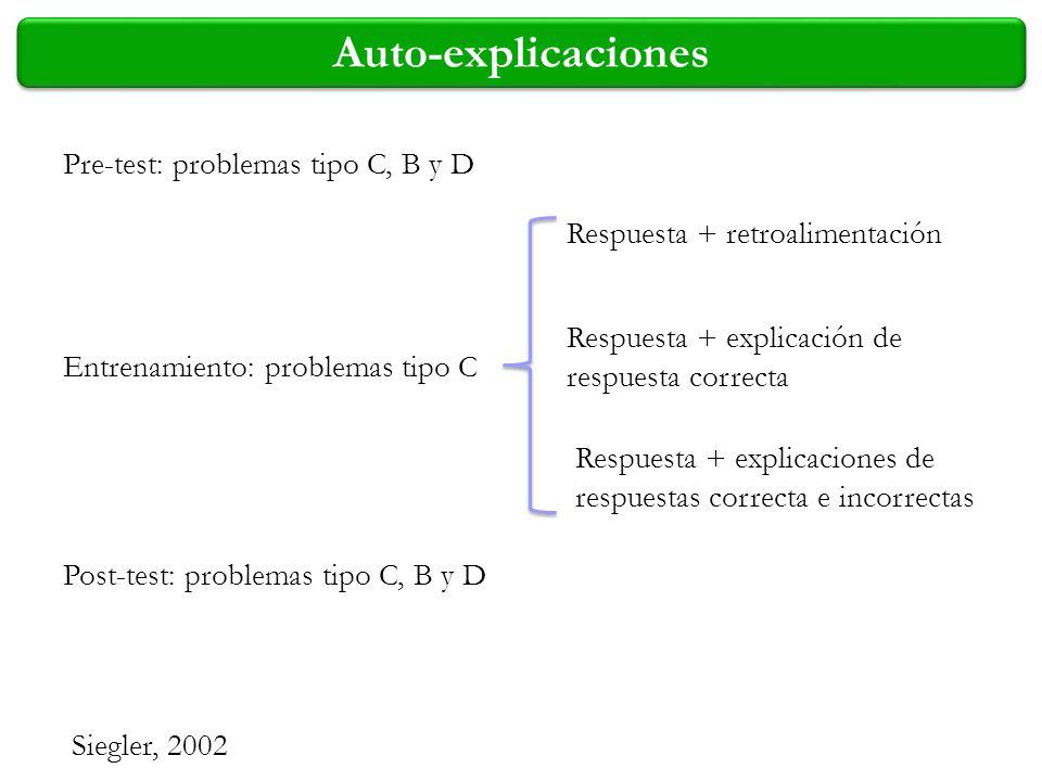 Auto-explicaciones Pre-test: problemas tipo C, B y D