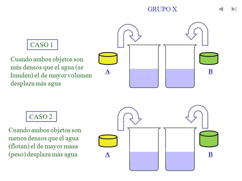 GRUPO X Cuando ambos objetos son más densos que el agua (se hunden) el de mayor volumen desplaza más agua.