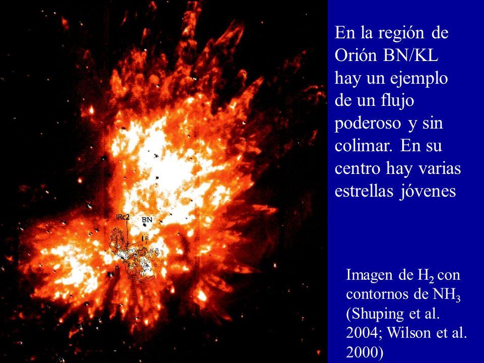 En la región de Orión BN/KL hay un ejemplo de un flujo poderoso y sin colimar. En su centro hay varias estrellas jóvenes