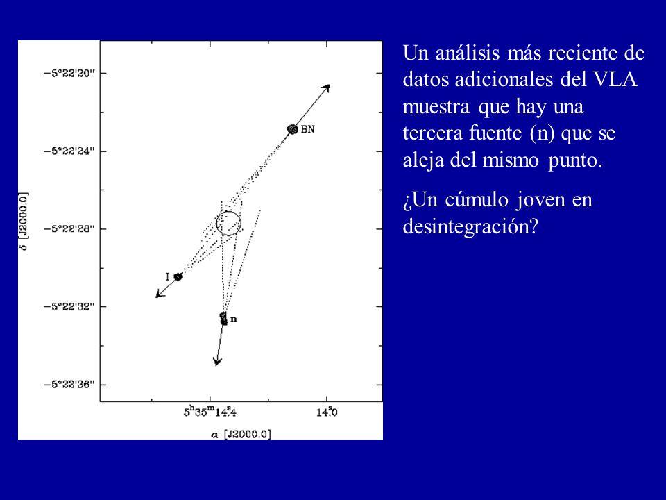 Un análisis más reciente de datos adicionales del VLA muestra que hay una tercera fuente (n) que se aleja del mismo punto.