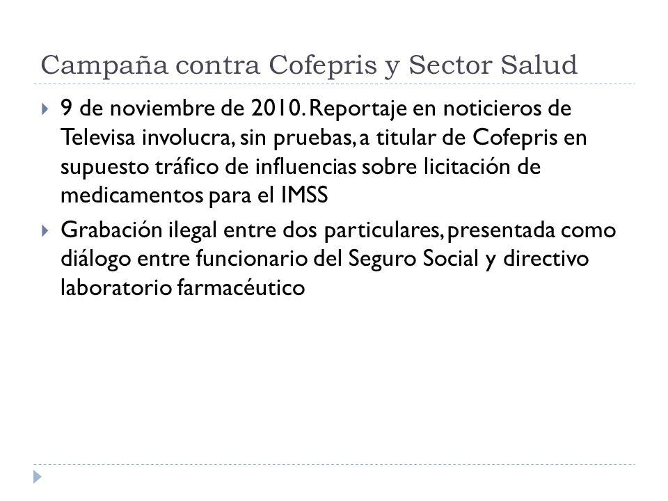 Campaña contra Cofepris y Sector Salud