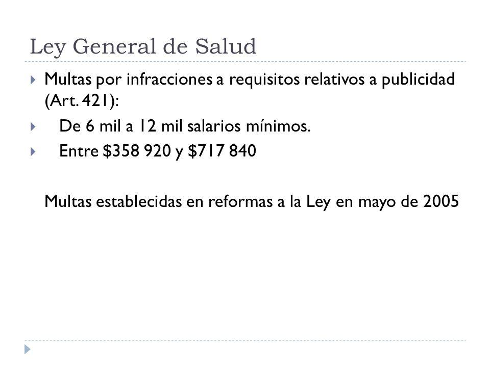Ley General de Salud Multas por infracciones a requisitos relativos a publicidad (Art. 421): De 6 mil a 12 mil salarios mínimos.