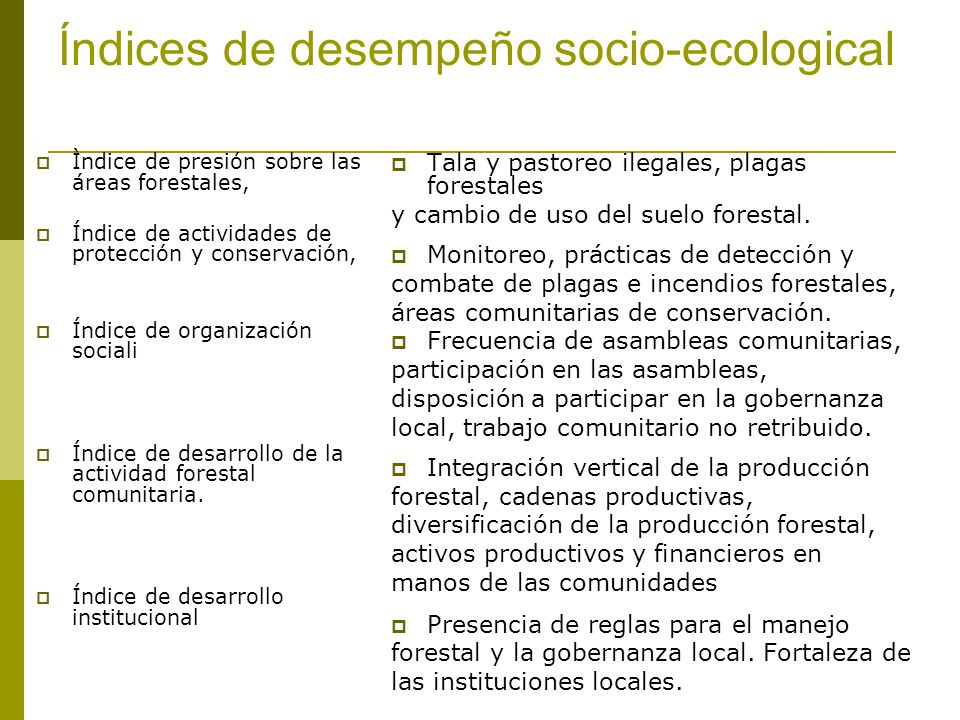 Índices de desempeño socio-ecological