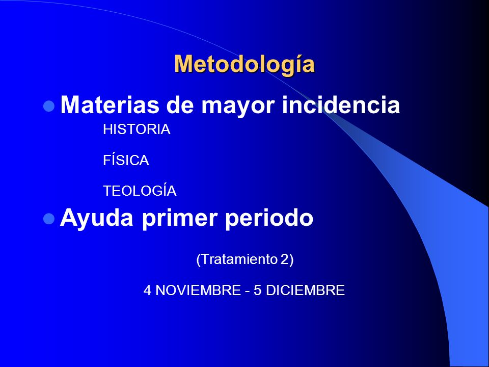 Materias de mayor incidencia