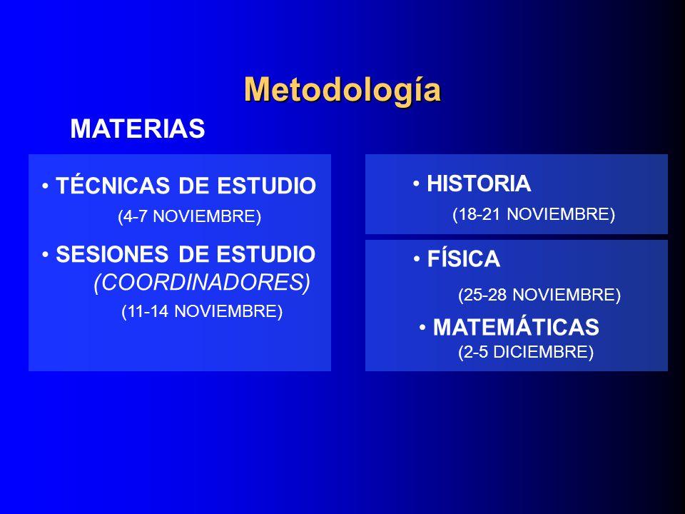 Metodología MATERIAS TÉCNICAS DE ESTUDIO HISTORIA SESIONES DE ESTUDIO