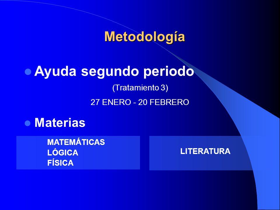 Ayuda segundo periodo Metodología Materias (Tratamiento 3)