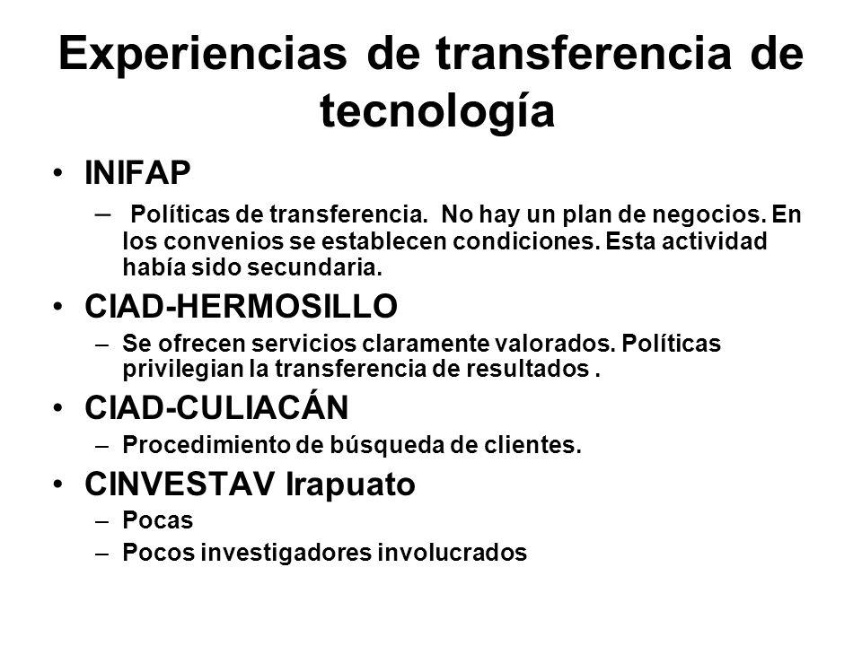 Experiencias de transferencia de tecnología