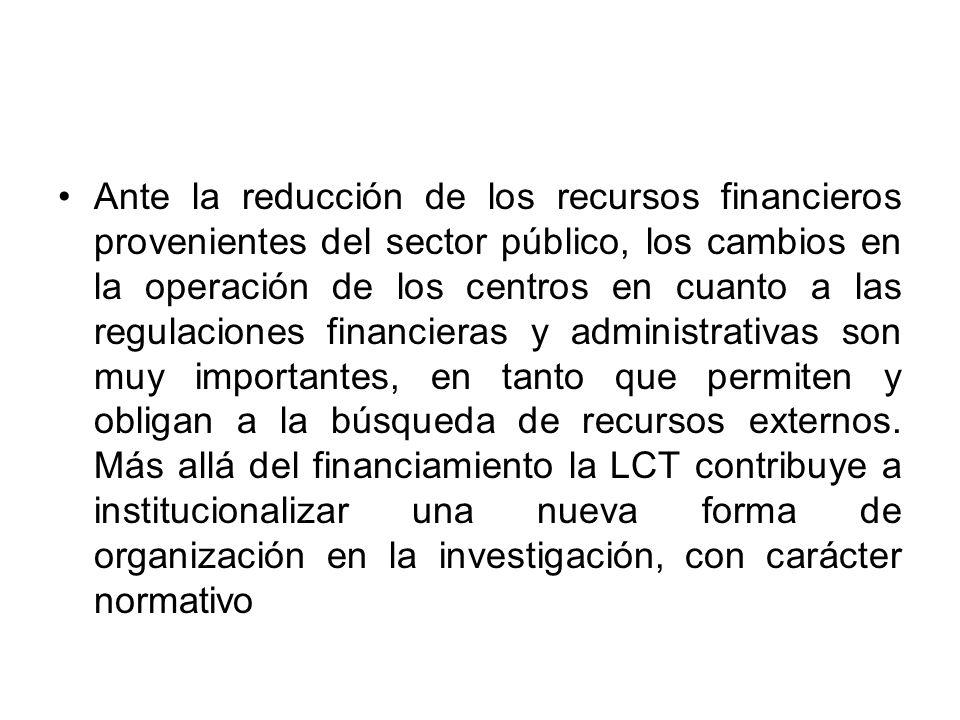Ante la reducción de los recursos financieros provenientes del sector público, los cambios en la operación de los centros en cuanto a las regulaciones financieras y administrativas son muy importantes, en tanto que permiten y obligan a la búsqueda de recursos externos.