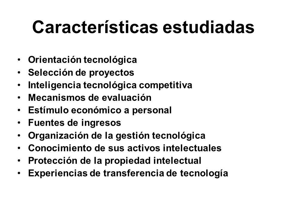 Características estudiadas